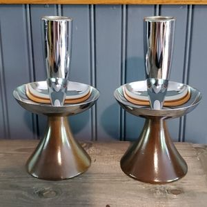 Pair of vintage mid century candle stick holders